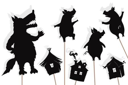 Shadow puppets of three little pigs and Big Bad Wolf