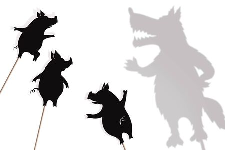 Shadow puppets of three little pigs and Big Bad Wolf.