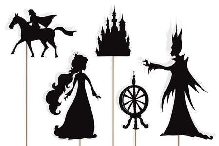 Shadow puppets of princess, Prince, evil fairy, castle and spinning wheel, isolated on white background.