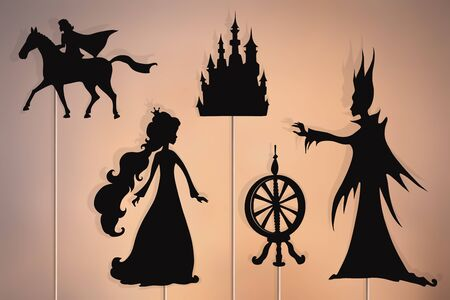 Shadow puppets of princess, Prince, evil fairy, castle and spinning wheel,. Stock Photo - 131410308