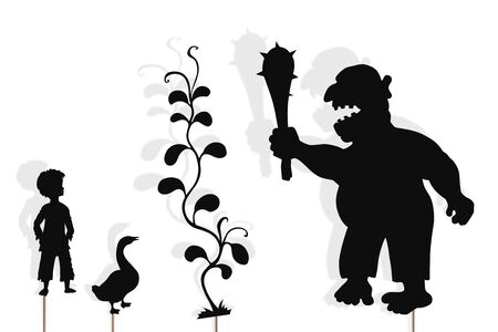 Shadow puppets of Jack, giant, goose and beanstalk.