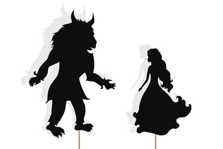 Shadow puppets of Beauty and Beast, isolated