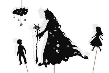 Shadow puppets of Snow Queen, Kai and Gerda.