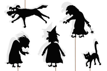 Shadow puppets of three evil witches, black cat and dog, isolated on white background. Halloween scary storytelling.