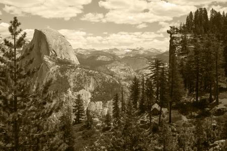 half dome: Sepia Half Dome Landscape at Yosemite