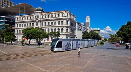 Rio de Janeiro, Brazil - December 30, 2019: VLT Carioca is a network of light rail vehicles that runs through the Center and the Port of Rio. Sajtókép