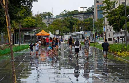 Rio de Janeiro, Brazil - April 1, 2017: View of part of the Olympic Boulevard (Boulevard Olimpico) of Rio de Janeiro after rain.