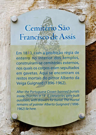 Ouro Preto, Minas Gerais, Brazil - January 8, 2018: Tourist spot indicative plate.