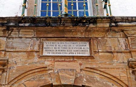 Ouro Preto, Minas Gerais, Brazil - January 9, 2018: Commemorative plaque at Inconfidence Museum (Museu da Inconfidencia). Editöryel