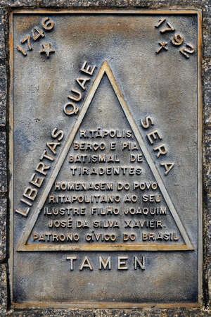Ritapolis, Minas Gerais, Brazil - January 27, 2020: Commemorative plaque on Tiradentes Square.