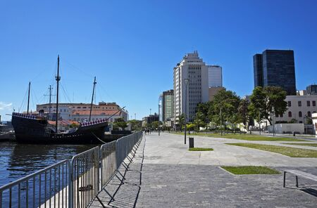View of the Boulevard in Rio's harbor area and Nau Capitania, replica of caravel used by Pedro Alvares Cabral in the discovery of Brazil