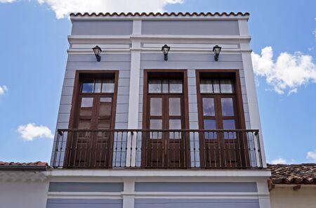 Ancient balconies on facade in Sao Joao del Rei, Brazil Standard-Bild