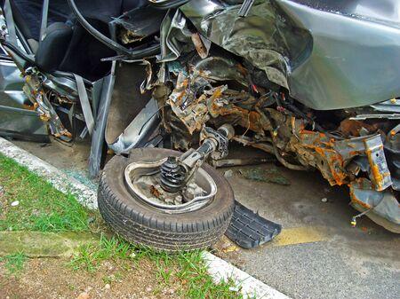 Car crash accident on the road (detail), Rio de Janeiro, Brazil