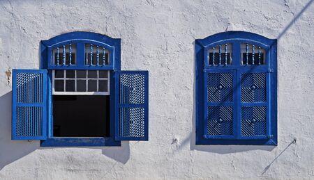 Colonial windows at historical city of Diamantina, Brazil