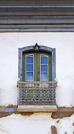 Balcony on facade in Serro, Minas Gerais, Brazil Banque d'images