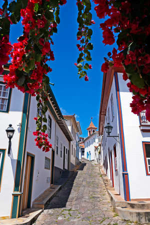 Typical street of Diamantina, historical city in Brazil