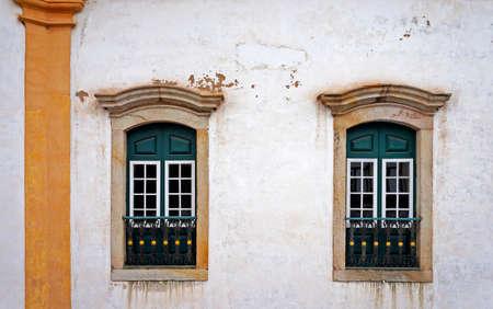 Colonial balconies on facade at Ouro Preto, Brazil