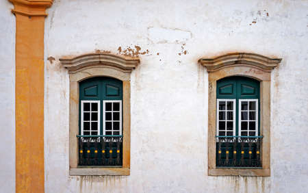 Colonial balconies on facade at Ouro Preto, Brazil