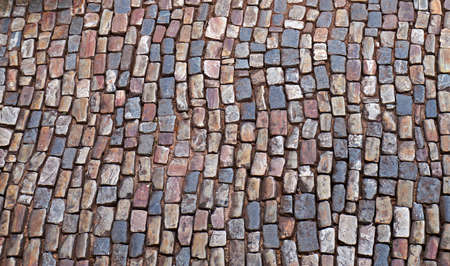 Typical paving stones at historical city of Ouro Preto, Brazil