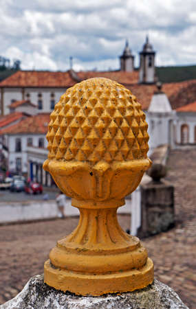 Yellow ornament at historical city of Ouro Preto, Brazil Reklamní fotografie