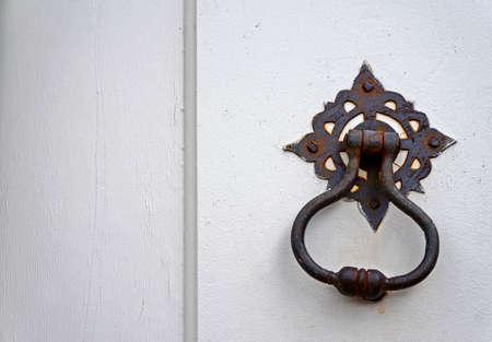 Ancient white door details, Ouro Preto, Brazil