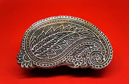 Traditional Indian block prints. Wood blocks used for handmade textile printing. Stockfoto
