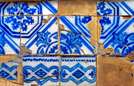 Ancient tiles pattern in Ouro Preto, Brazil