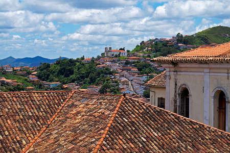 Roofs ans partial view of Ouro Preto, historical city in Brazil Archivio Fotografico