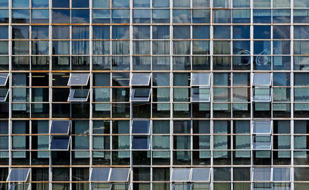 Building facade with reflections, Belo Horizonte, Brazil