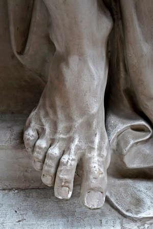 Rio de Janeiro, Brazil - July 22, 2017: Foot of a male statue at Rio Museum of Fine Arts.