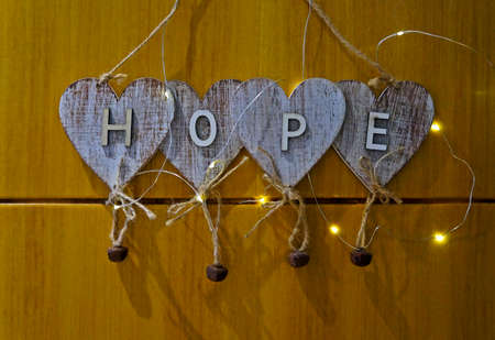 Hope written in hearts, Christmas decoration