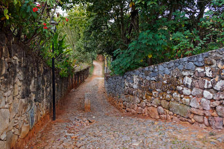 Typical street at historical city of Tiradentes, Brazil