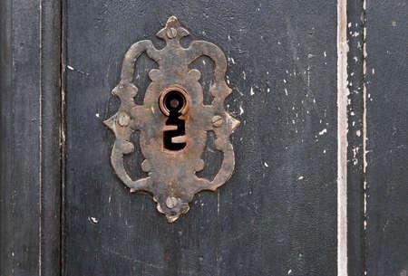 Ancient baroque door detail, Tiradentes, Minas Gerais, Brazil