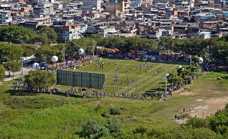 Rio de Janeiro, Brazil - Juny 8, 2014: Soccer field in the favela (Rio das Pedras).