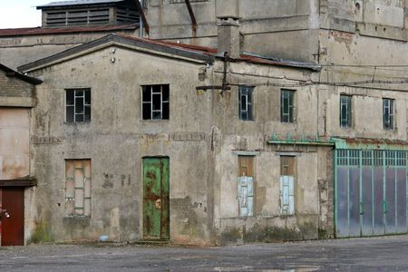 cutback: facade of old industrial building Stock Photo