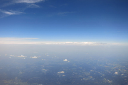 aerial photograph:  Aerial photograph of endless cloudless sky over Europe Stock Photo