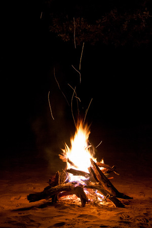 sparking: Sparking Camp Fire in the Night Stock Photo