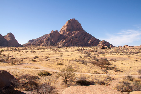 spitzkoppe: Looking Over Namib Desert with Spitzkoppe Mountain