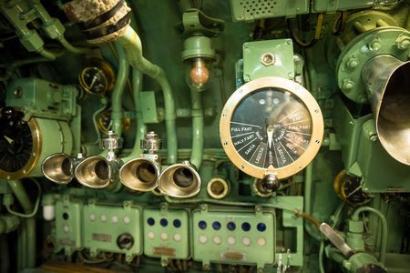 throttle: Old Ship Throttle Speed Control and Communication System, Vintage Stock Photo