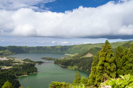 Looking over Lagoa Azul and Lagoa Verde, Sao Miguel, Azores