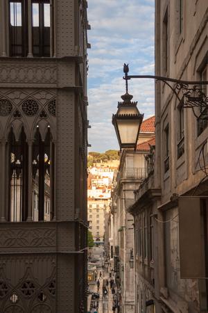 baixa: Alley next to Santa Justa Lift in Lisbon, Portugal, Europe