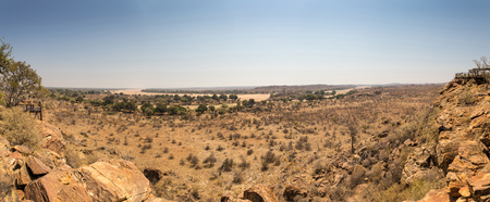arroyo: Panorama of Desert Landscape with Dry River Bed in Mapungubwe National Park, South Africa, Africa