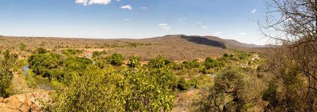 Panorama of Savanna Landscape with River in Swaziland, Africa