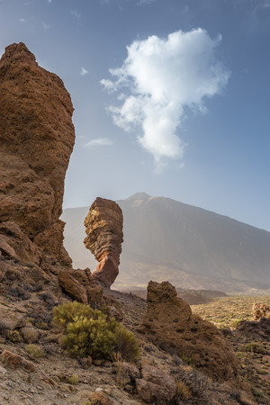 The Roque Cinchado, a unique Rock Formation in front of Mount Teide Summit, Tenerife, Spain, Europe