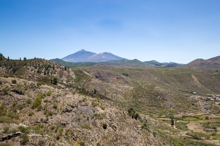 Valley in Teno Mountains with Teide Mountain in the Background, Tenerife, Spain, Europe