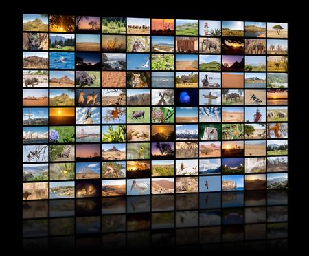 Una variedad de imágenes de paisajes y animales como un gran muro de imágenes, canal documental