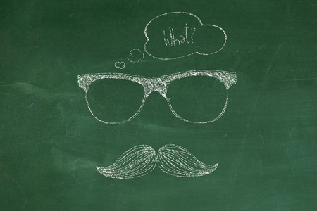 mostach with blank idea bubble photo