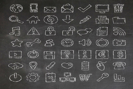 web icons on a chalkboard photo