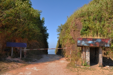 checkpoint: An old Thai Border Checkpoint in Kanchanaburi for crossing Thailand and Burma  Stock Photo