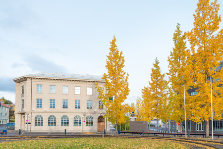 Beautiful street view in the morning time in autumn in downtown Akureyri city, Iceland
